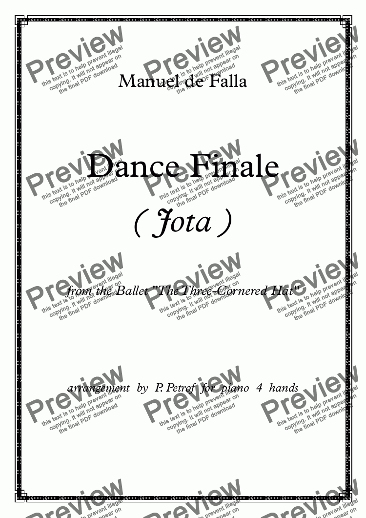 page one of M. de Falla - DANCE FINALE ( Jota ) from the Ballet ''The Three-Cornered Hat'' - piano 4 hands