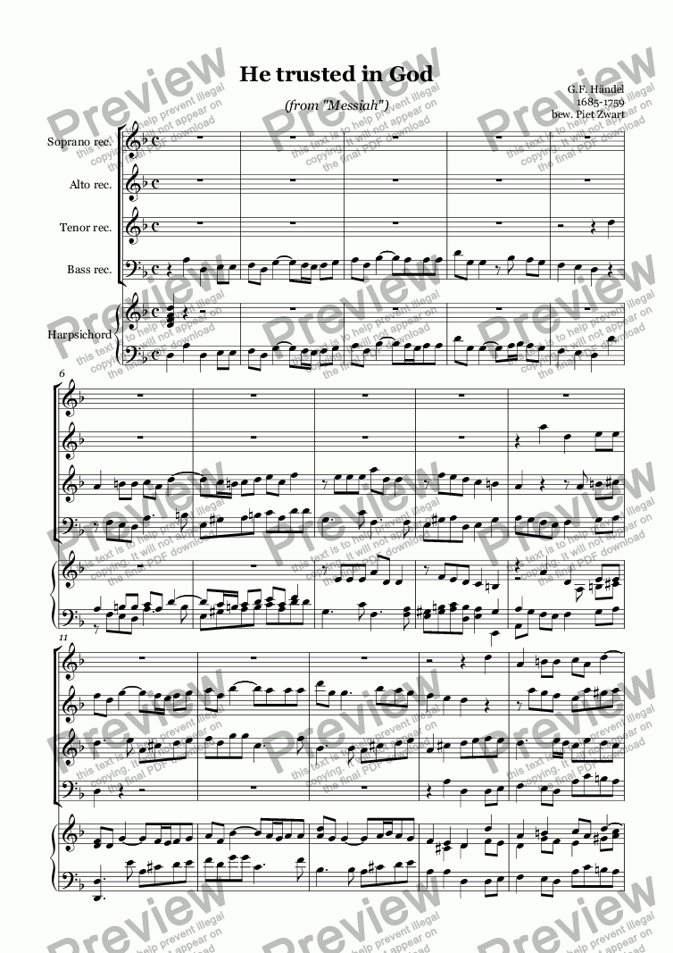 page one of He trusted in God (Händel)