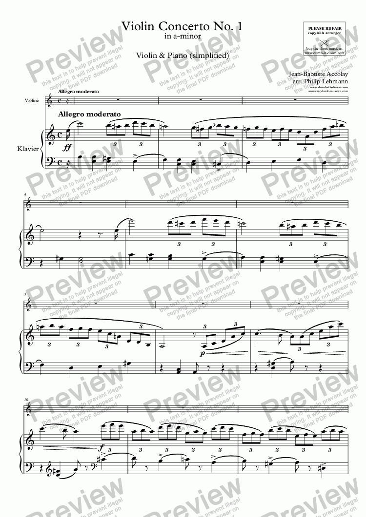 page one of Accolay, J.B. - Violin Concerto No.1 in a-minor - for Violin (orig.) & Piano (simplified)