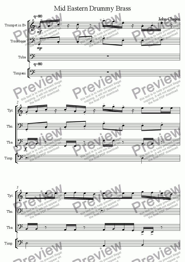 page one of Mid Eastern Drum and Brass