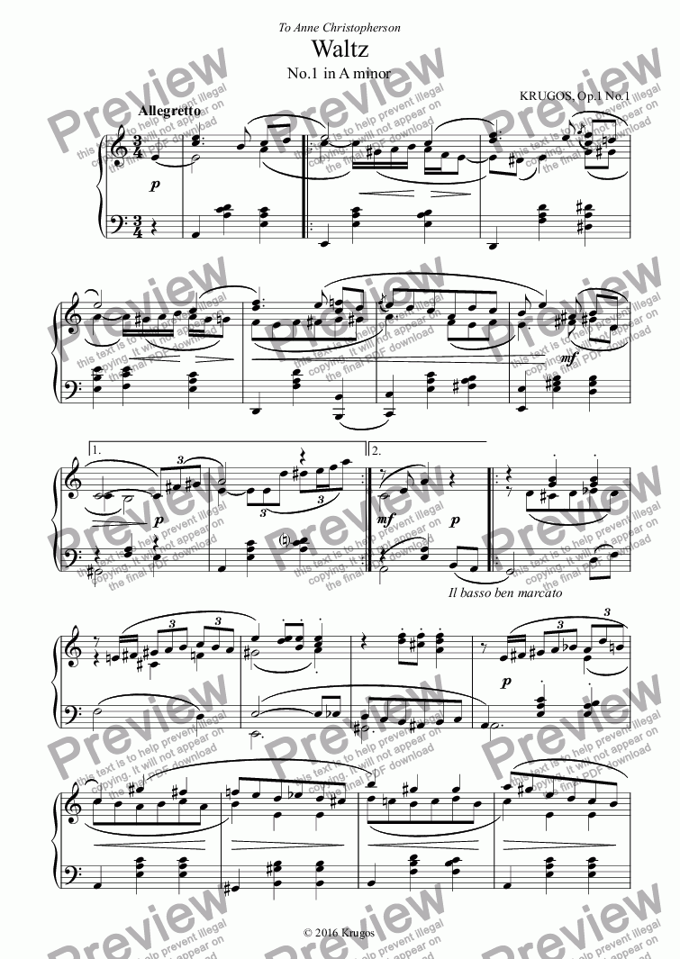 page one of Waltz Op.1 No.1