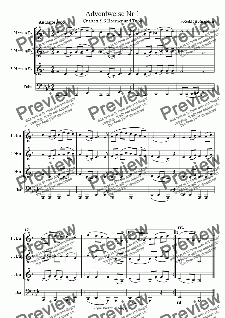 page one of Adventweise Nr.1 fuer 3 Hoerner und Tuba