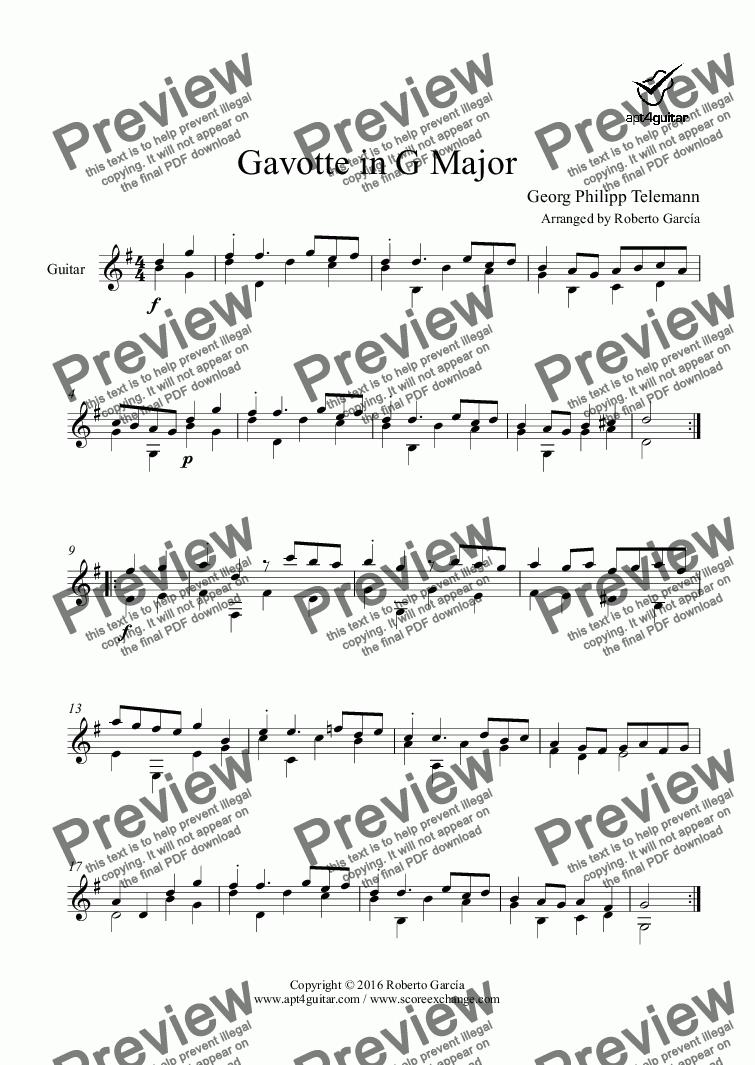 page one of Gavotte in G Major for solo guitarASALTTEXT