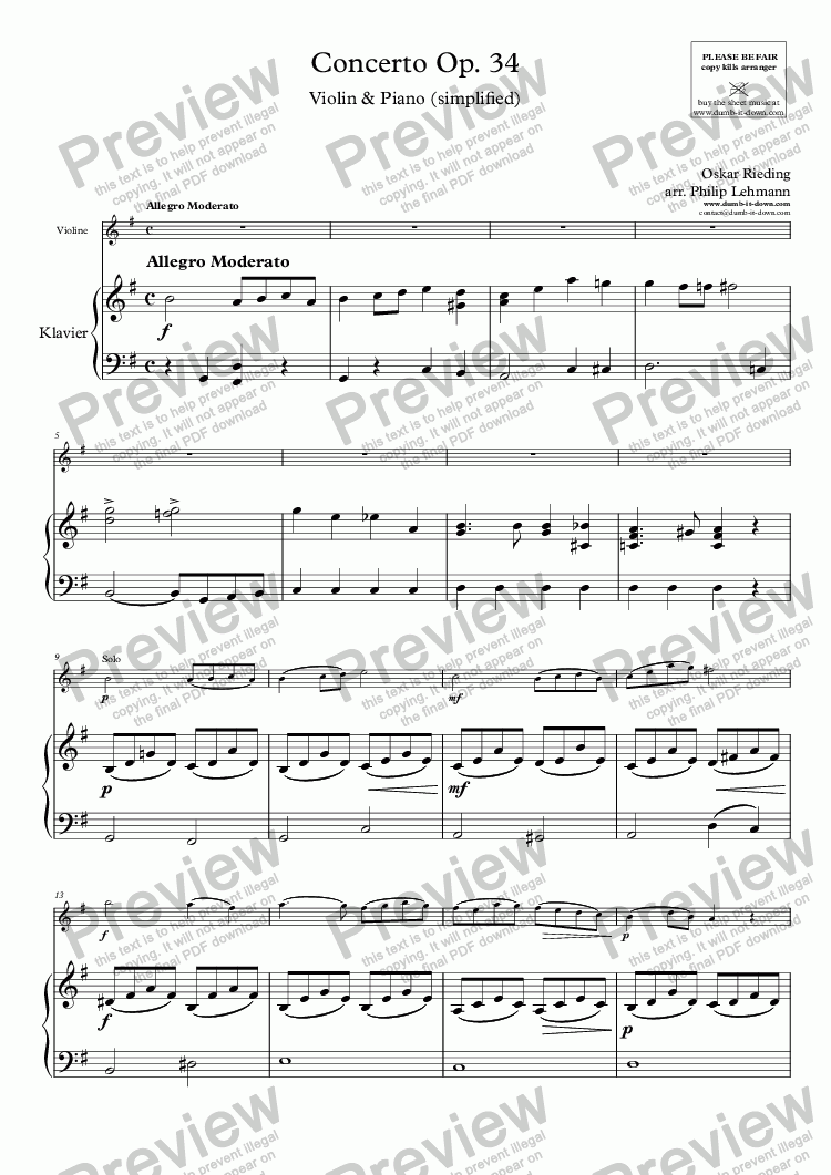 page one of Rieding, O. - Op.34, Concerto - for Violin (orig.) & Piano (simplified)