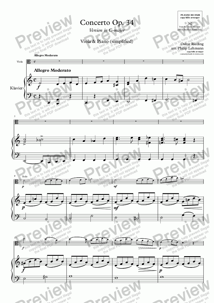 page one of Rieding, O. - Op.34, Concerto - for Viola (orig.) & Piano (simplified)