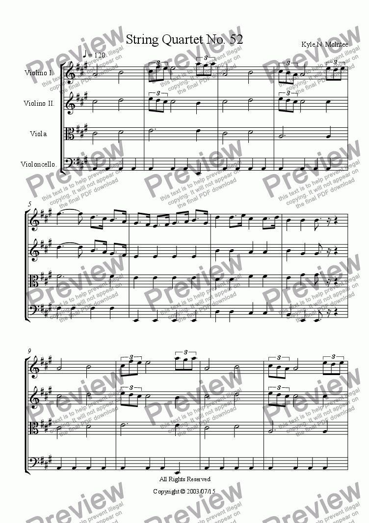 page one of String Quartet No. 52