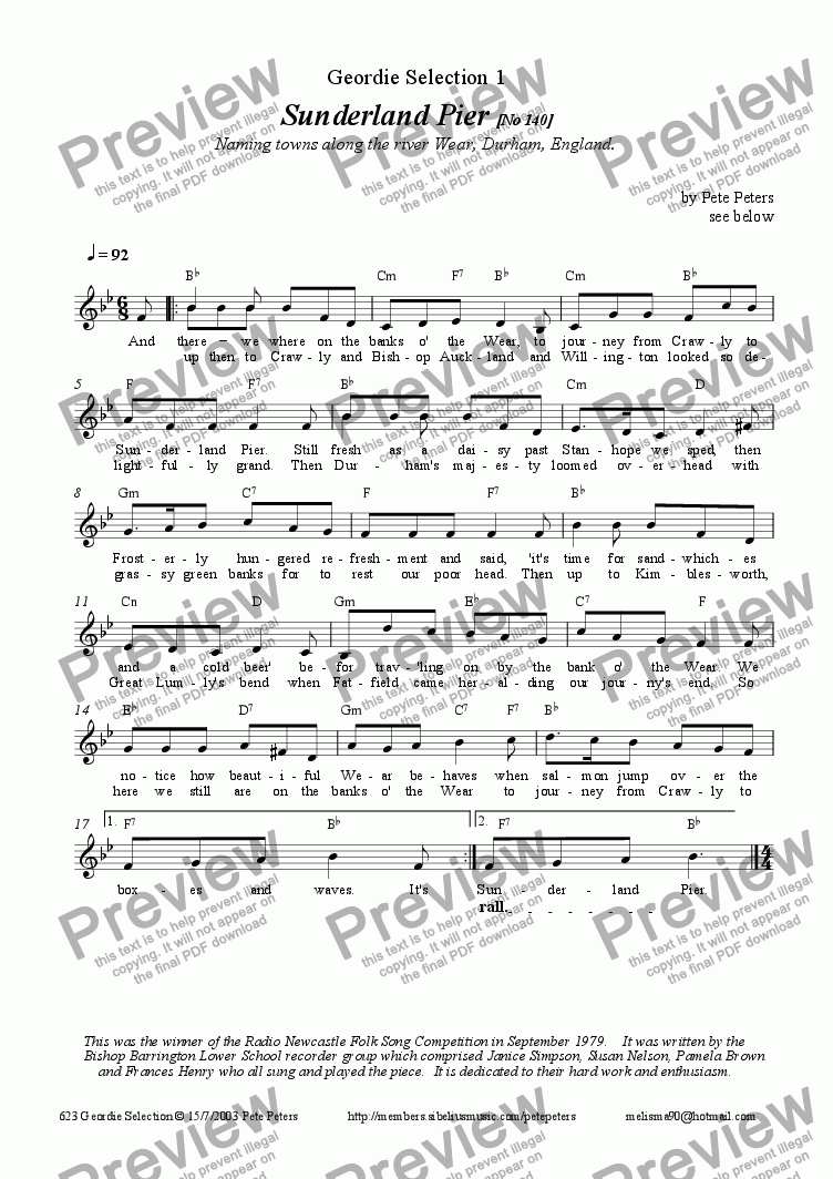 page one of Geordie Selection No1[vocal]ASALTTEXT