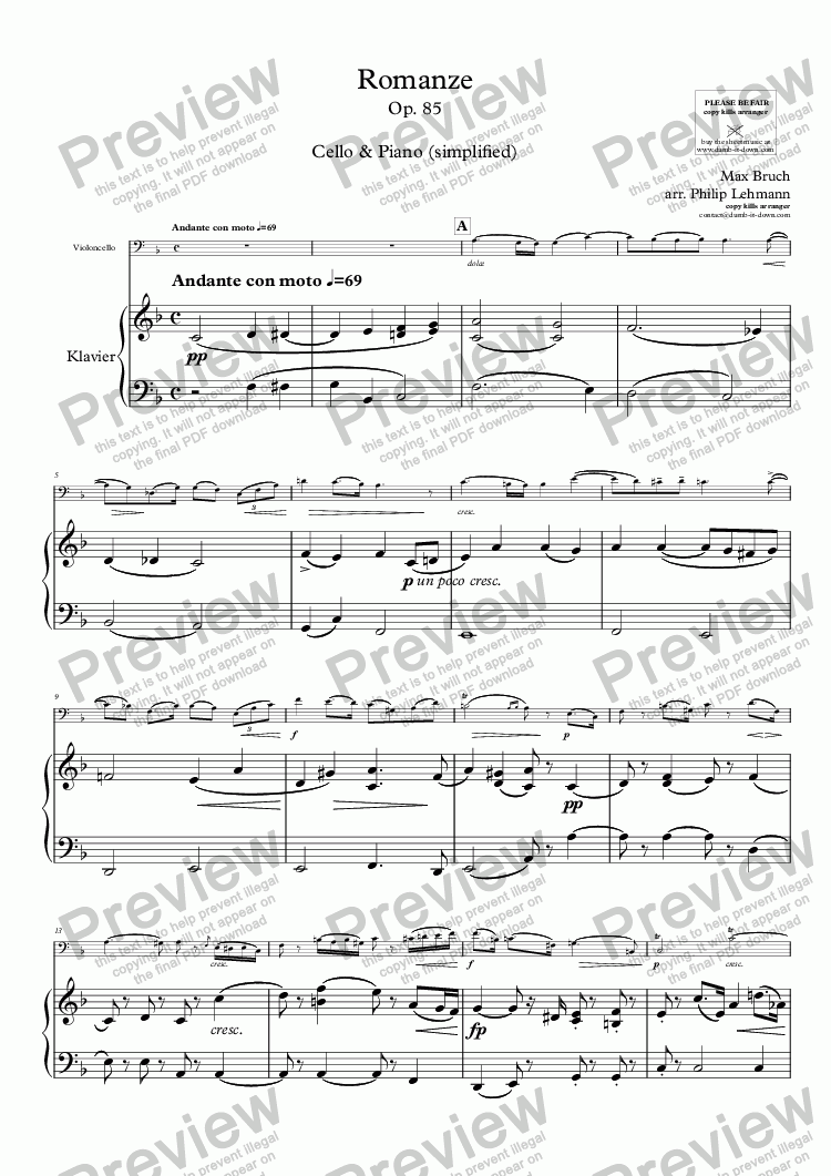 page one of Bruch, M. - Romanze, Op. 85 - for Cello (orig.) & Piano (simplified)