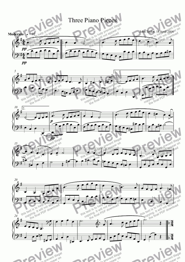 page one of Three Easy Piano PiecesASALTTEXT