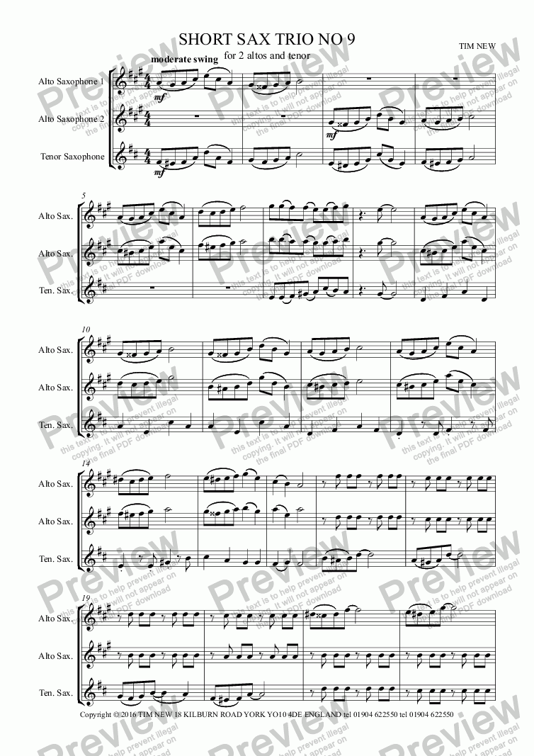 page one of SHORT SAX TRIO NO 9ASALTTEXT