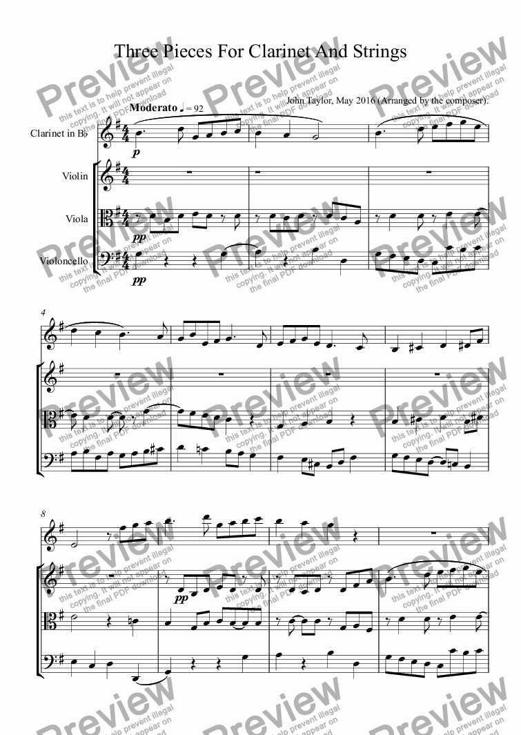 page one of Three Pieces For Clarinet And Strings