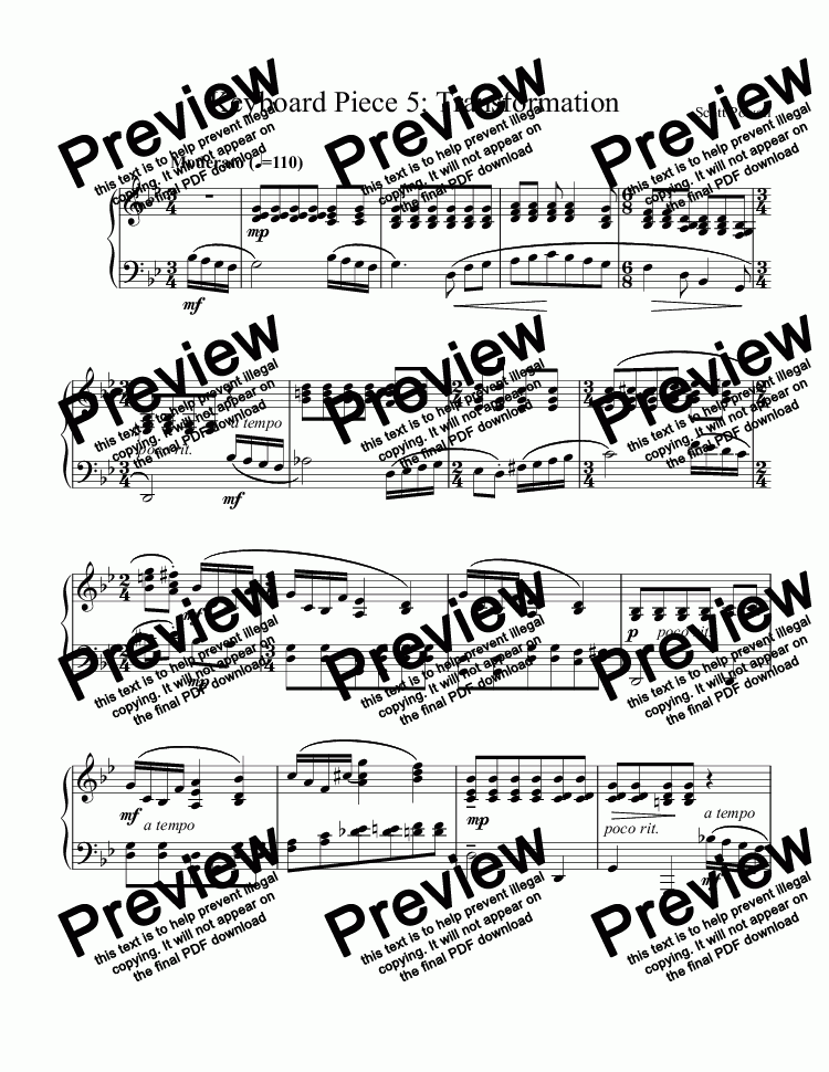 page one of Keyboard Piece 5: Transformation