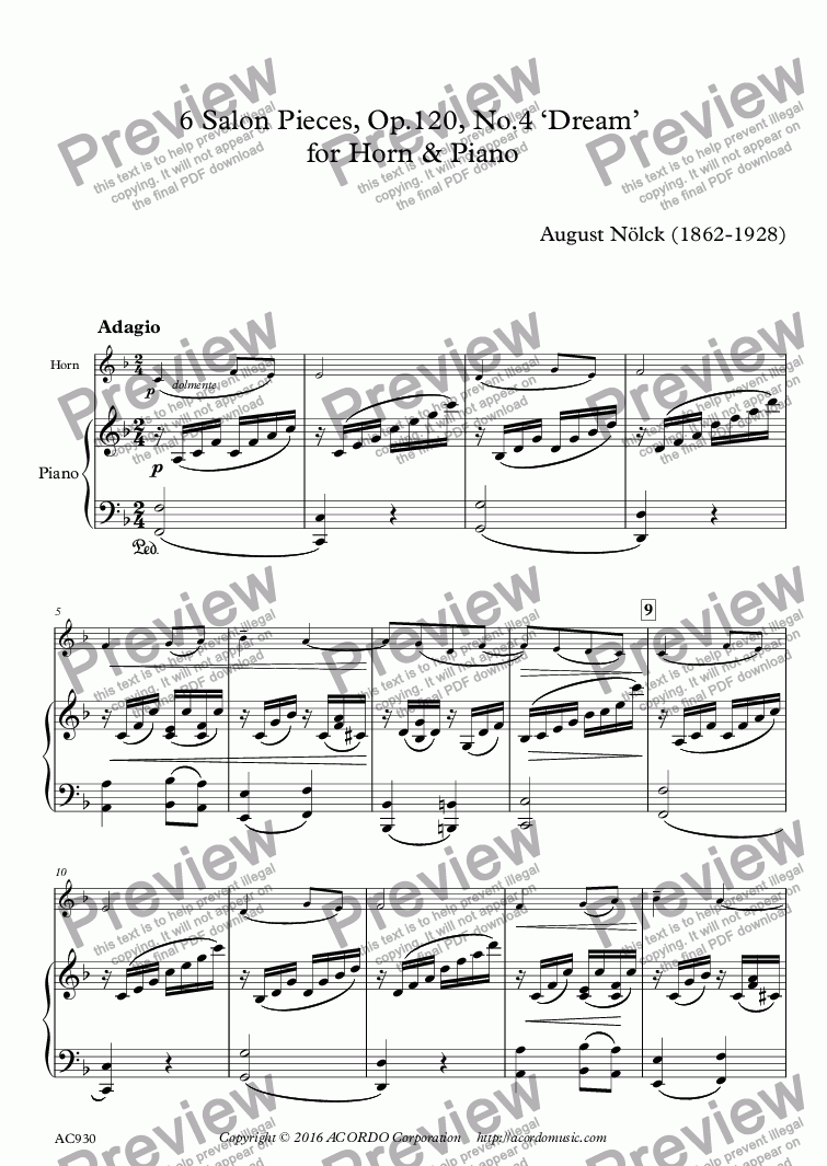 page one of 6 Salon Pieces, Op.120, No.4 'Dream'  for Horn & Piano