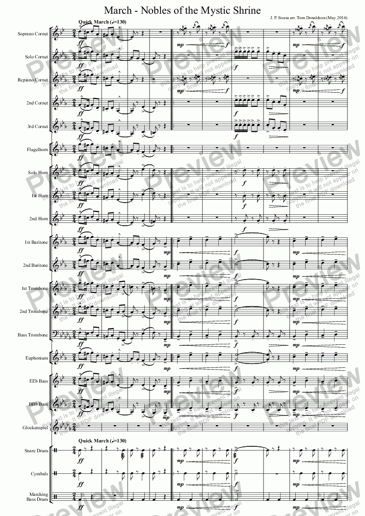 page one of BRASS BAND - March - Nobles of the Mystic Shrine