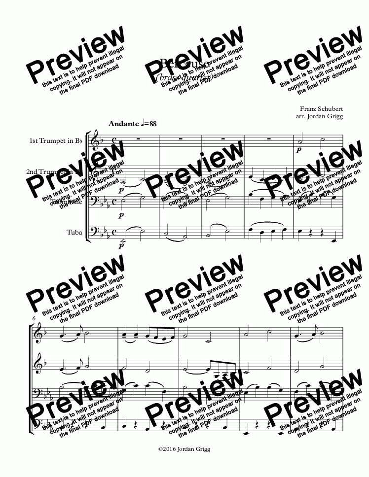 page one of Berceuse (brass quartet)