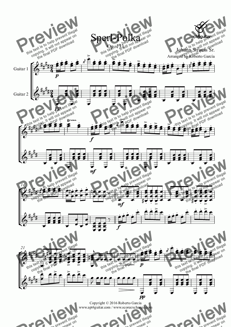page one of Sperl-Polka for guitar duet