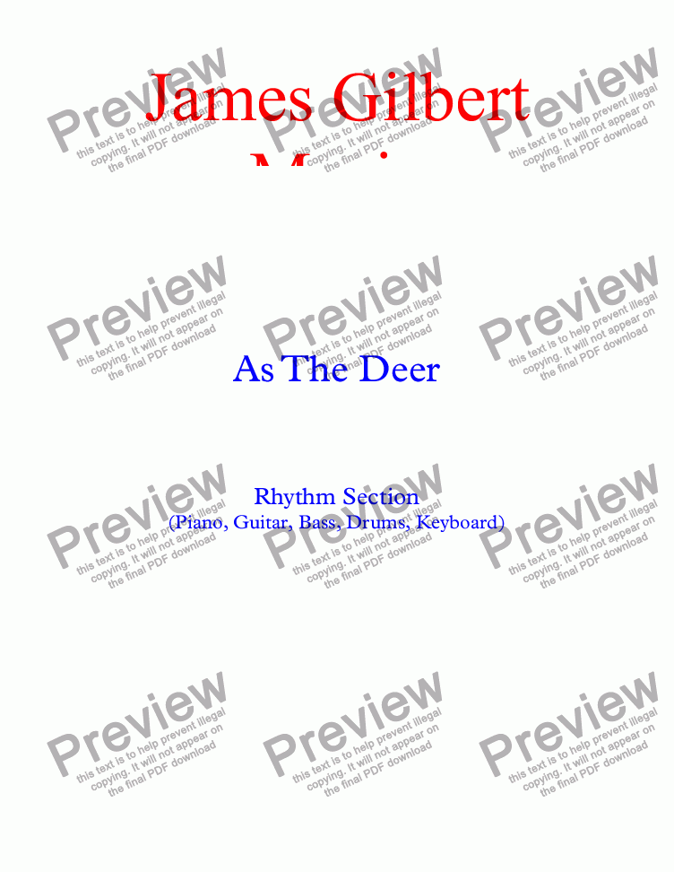 page one of As The Deer