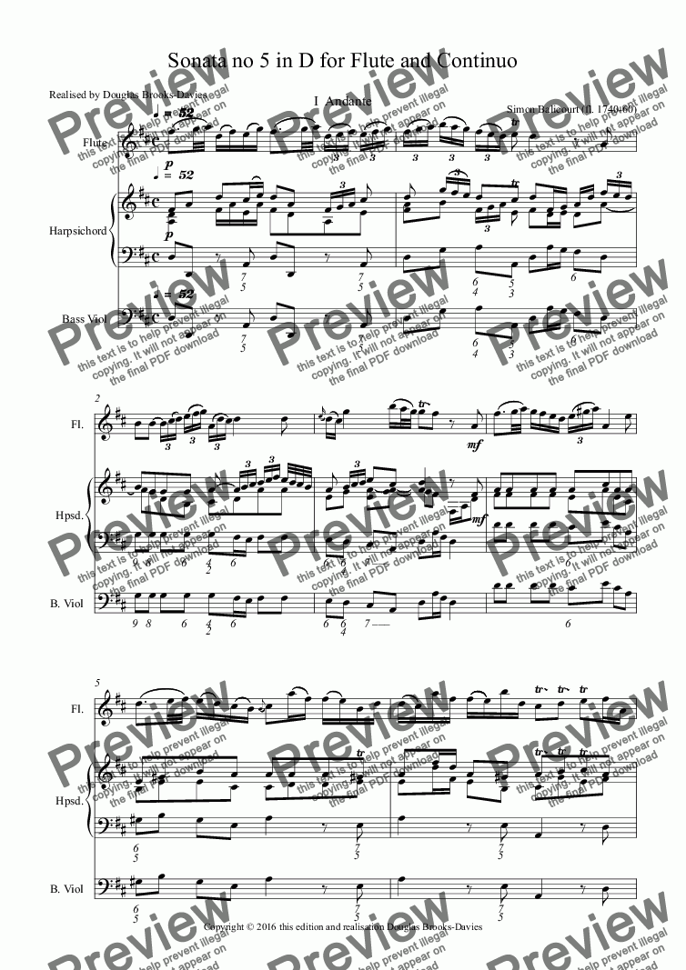 page one of BALICOURT, Simon: Sonata no 5 in D for Flute and Continuo
