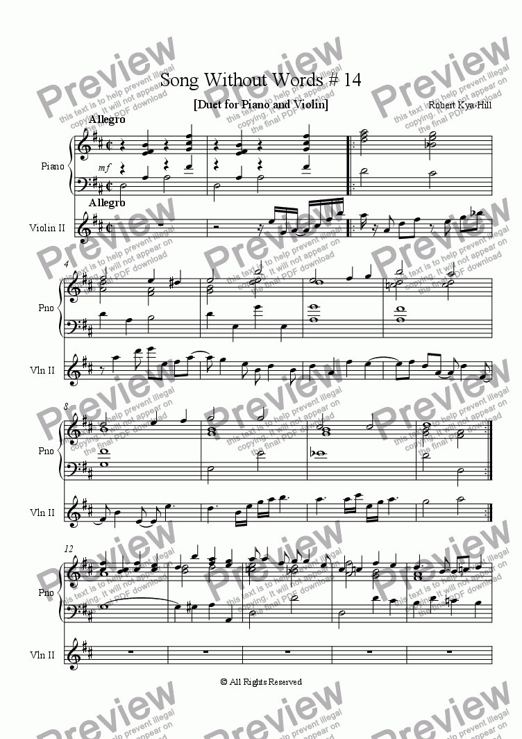 page one of Song Without Words # 14  [ Duet for Piano and Violin ]