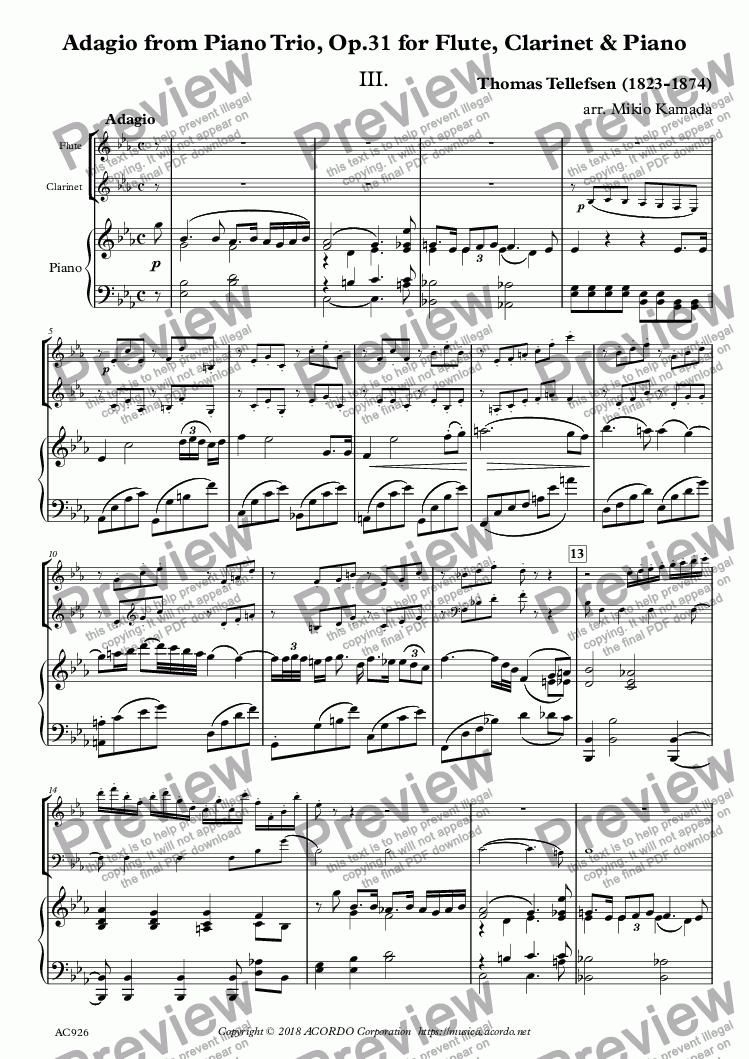 page one of Adagio from Piano Trio, Op.31 for Flute, Clarinet & Piano