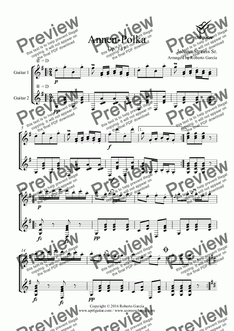 page one of Annen-Polka for guitar duet