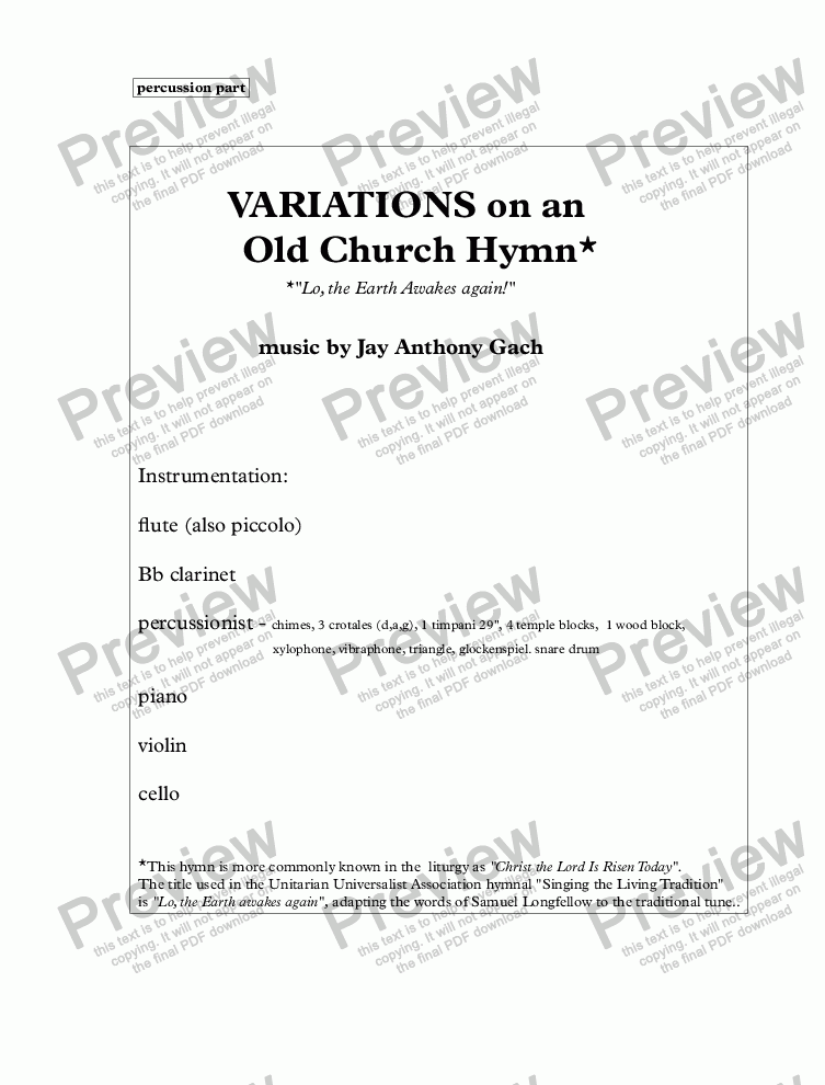page one of VARIATIONS on an Old Church Hymn