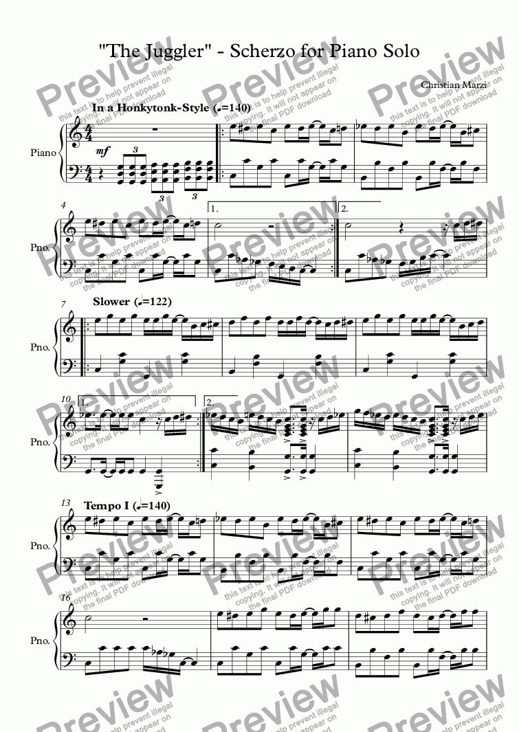 "page one of ""The Juggler"" - Scherzo for Piano Solo"
