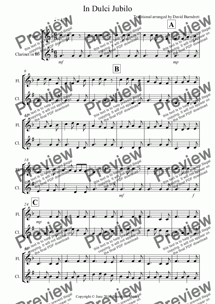 page one of In Dulci Jubilo for Flute and Clarinet Duet
