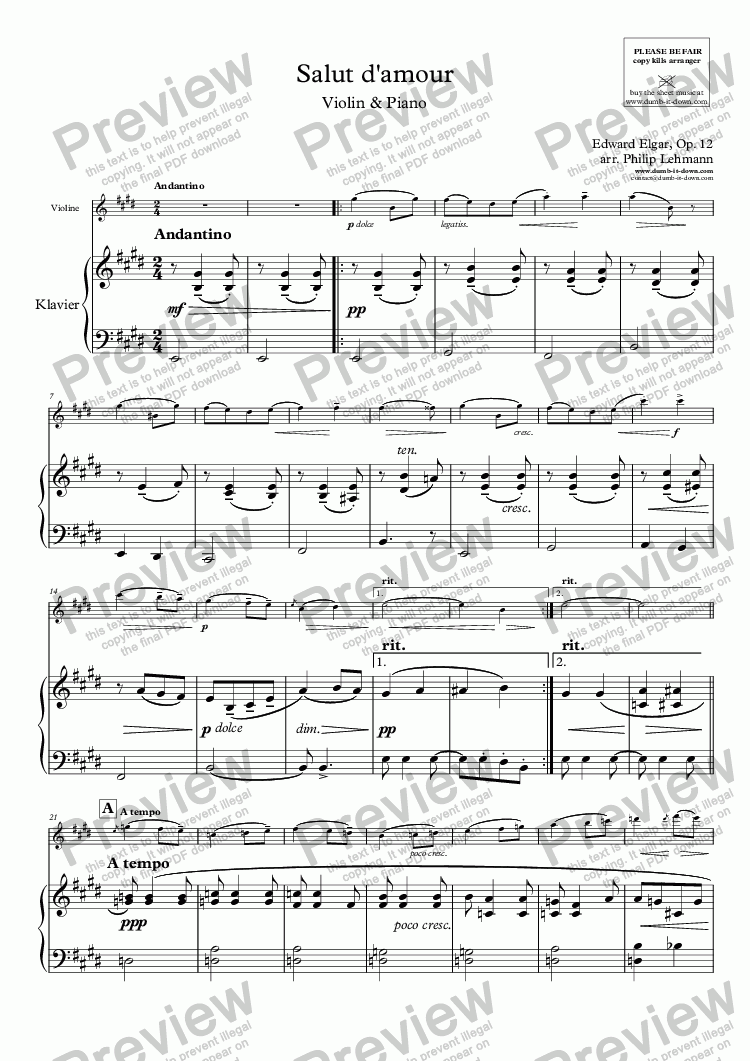 page one of Elgar, E. - Salut d'amour - for Violin (orig.) & Piano (simplified)