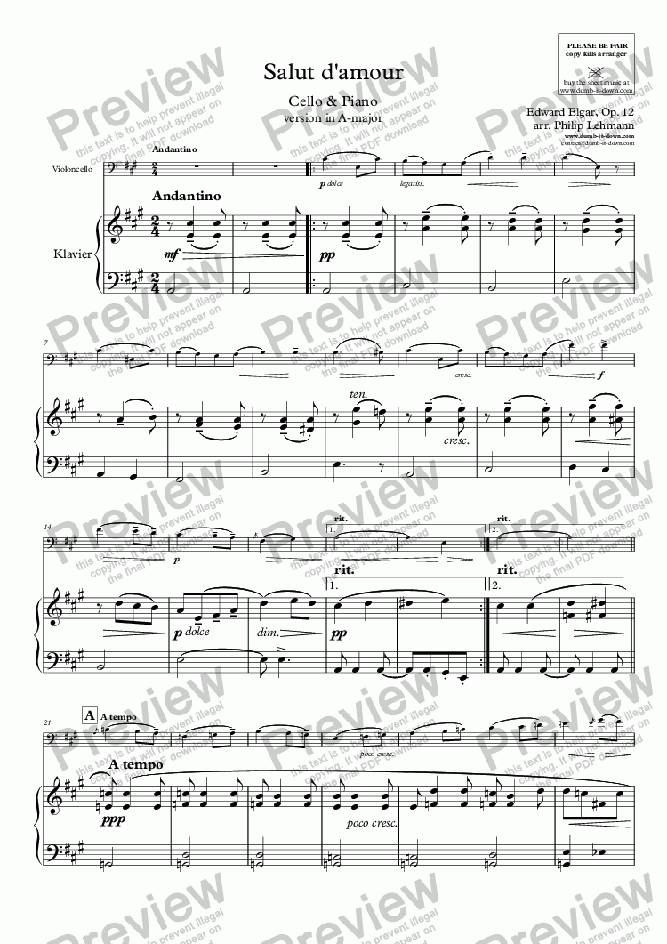 page one of Elgar, E. - Salut d'amour - version in A-major for Cello (orig.) & Piano (simplified)ASALTTEXT
