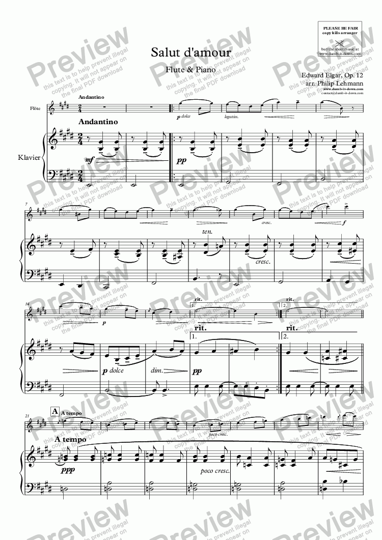 page one of Elgar, E. - Salut d'amour - for Flute (orig.) & Piano (simplified)ASALTTEXT