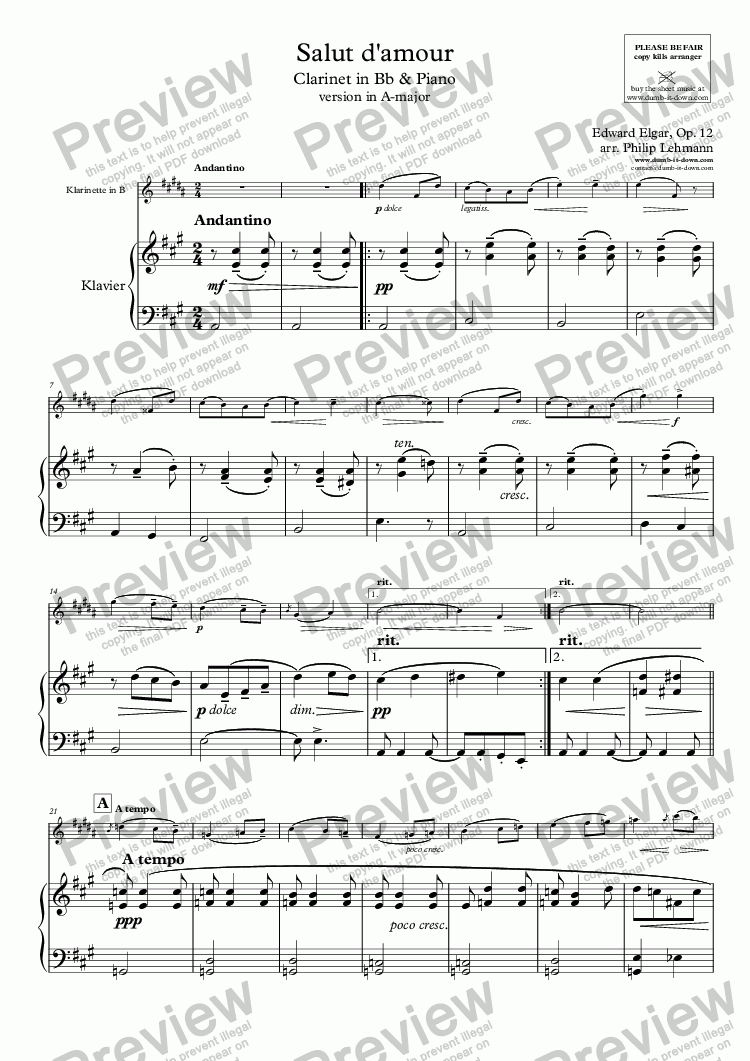 page one of Elgar, E. - Salut d'amour - version in A-major for Clarinet in Bb (orig.) & Piano (simplified)