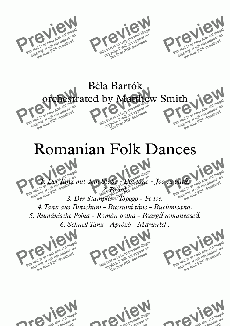 page one of Romanian Folk Dances (Brass Quintet)