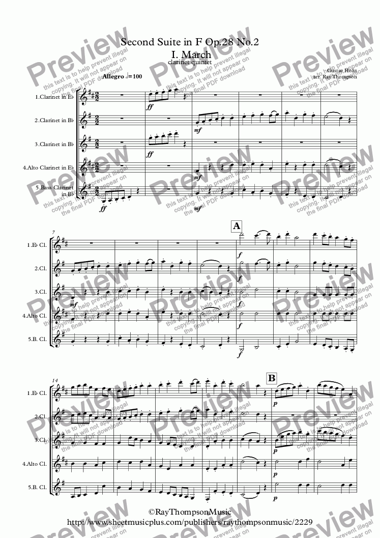 page one of Holst: Second Suite in F Op.28 No.2 (Complete) - clarinet quintet