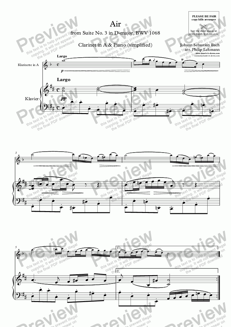 page one of Bach, J.S. - Air (from Suite No. 3 in D), BWV 1068 - for Clarinet in A (orig.) & Piano (simplified)
