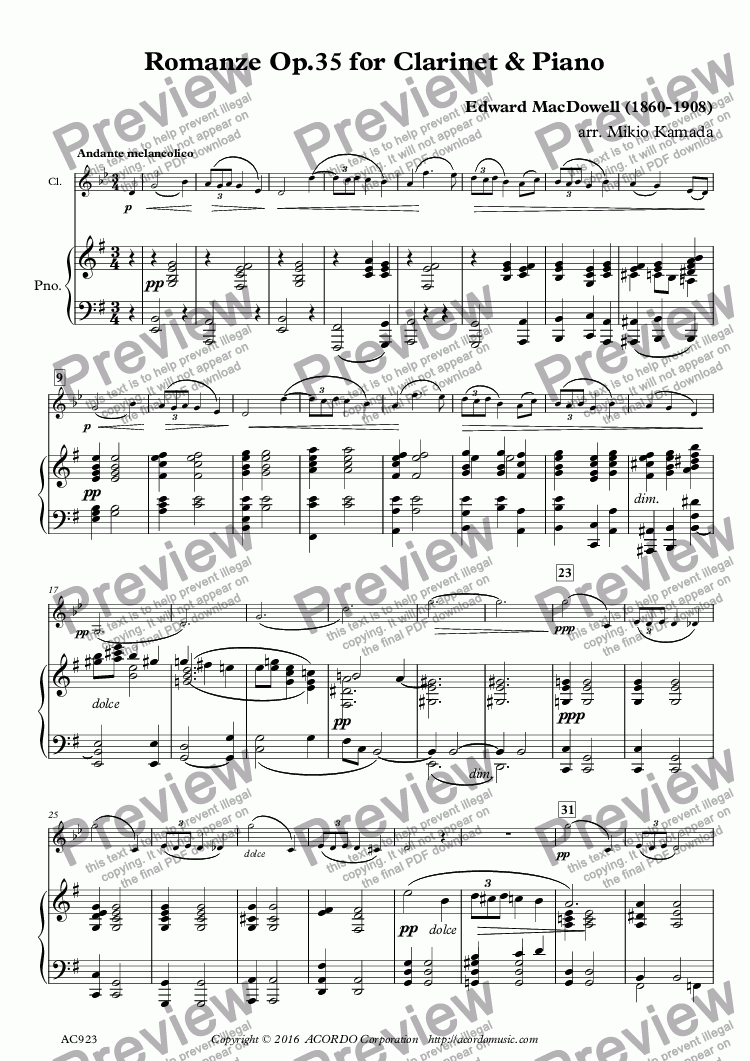 page one of Romanze Op.35 for Clarinet & Piano