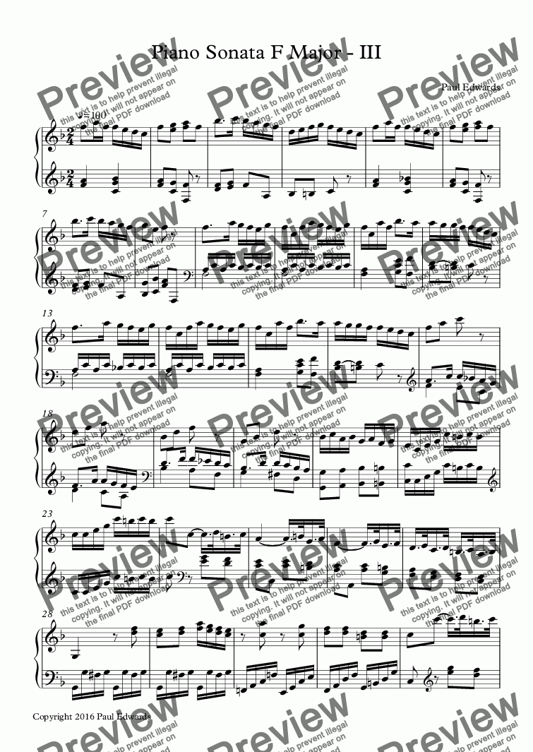page one of Piano Sonata in F - III
