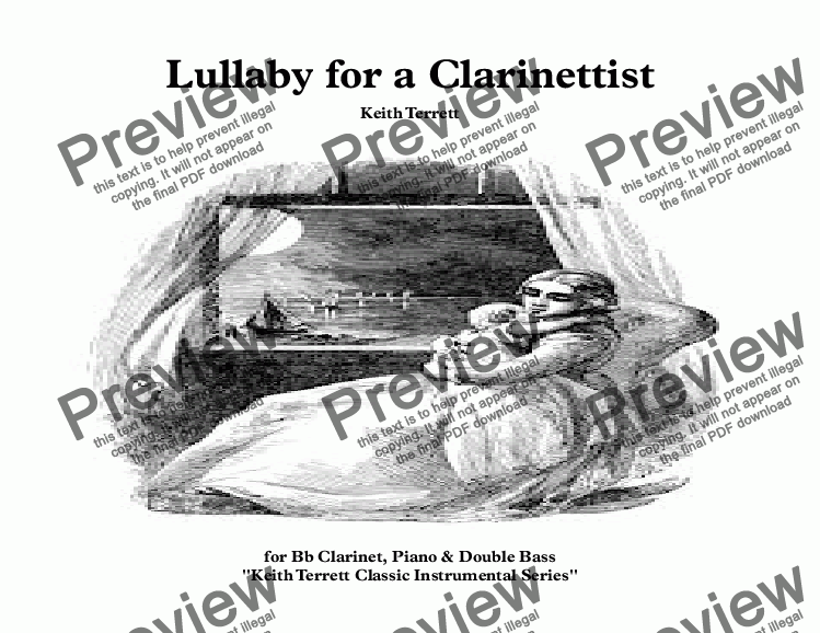 page one of Lullaby for a Clarinettist, Keyboards & String / E.  Bass Guitar