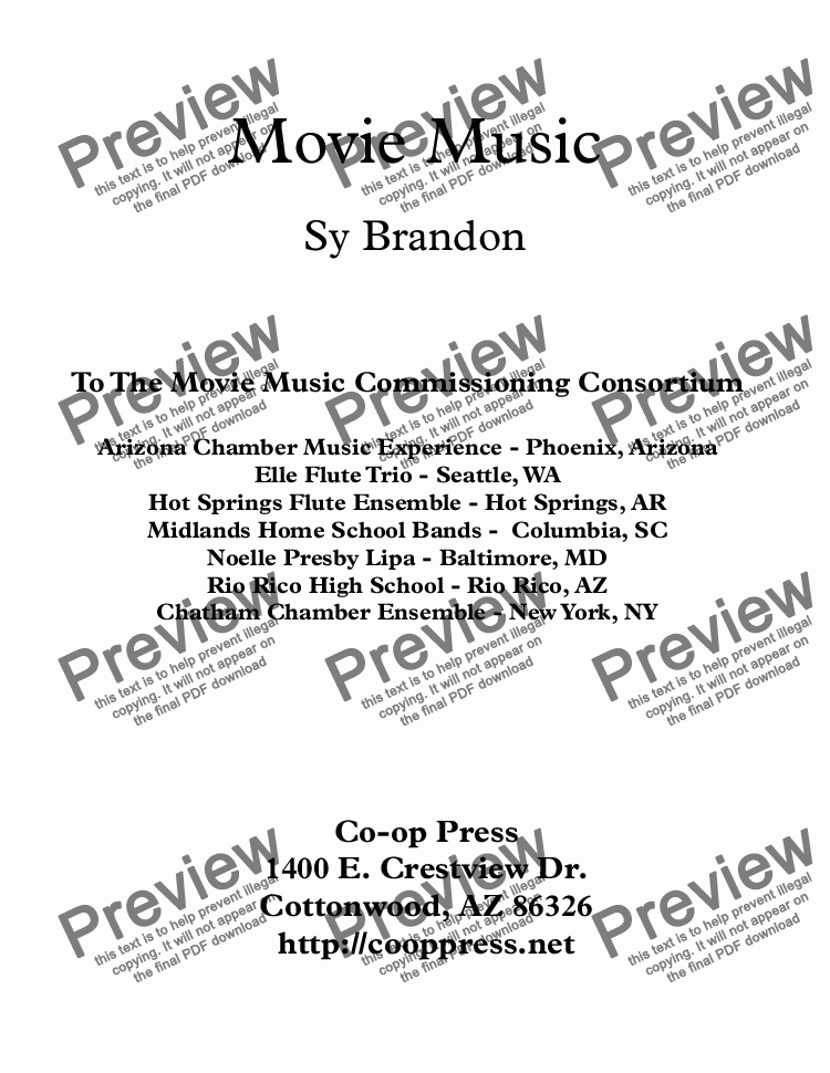 page one of Movie Music for Mixed Trio Bb Instrument Version