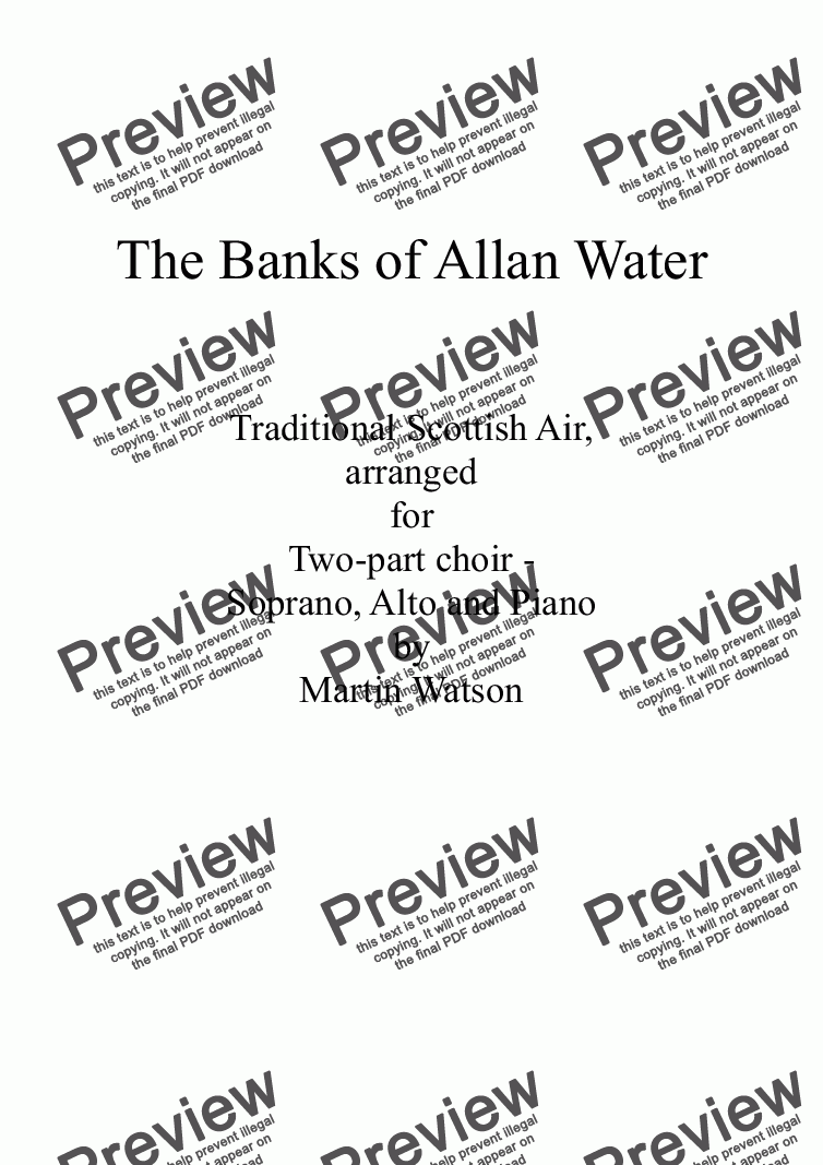page one of Banks of Allan Water, The; for Two Part Choir of Sopranos and Altos with Piano