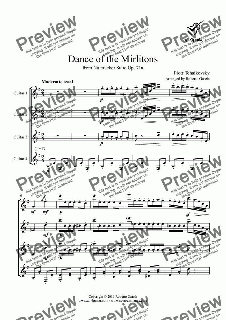 page one of Dance of the Mirlitons for guitar quartet