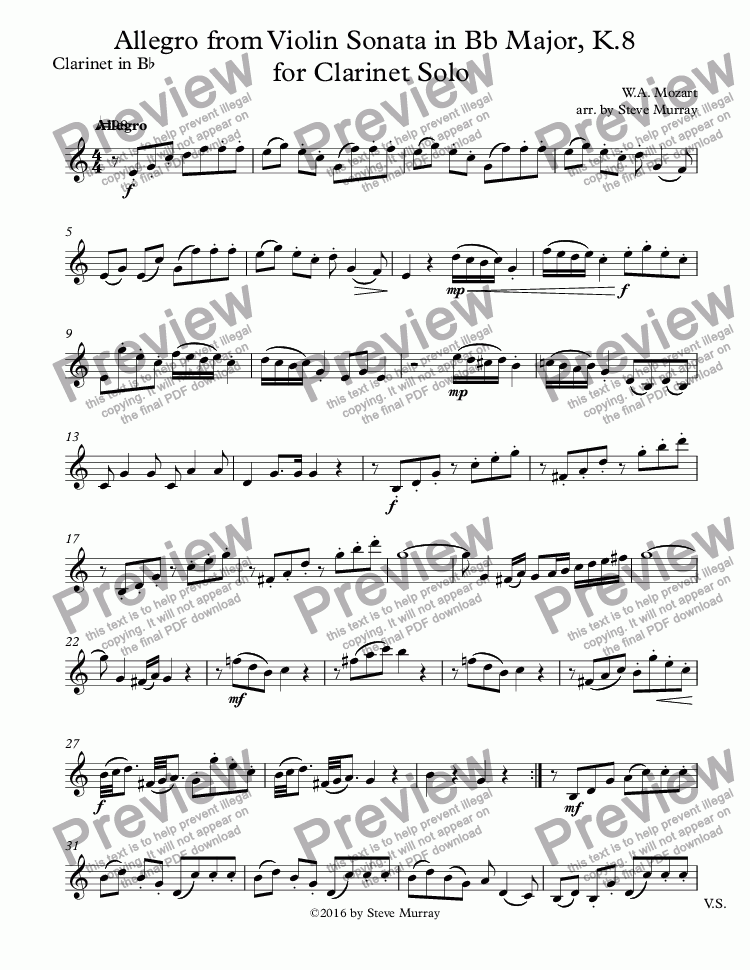 page one of Allegro from Violin Sonata in Bb Major, K.8 for Clarinet SoloASALTTEXT