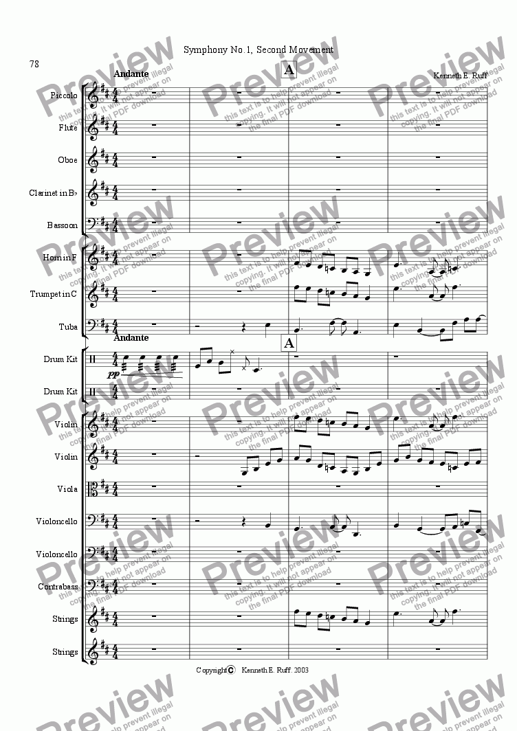page one of Symphony No. 1 Second Movement