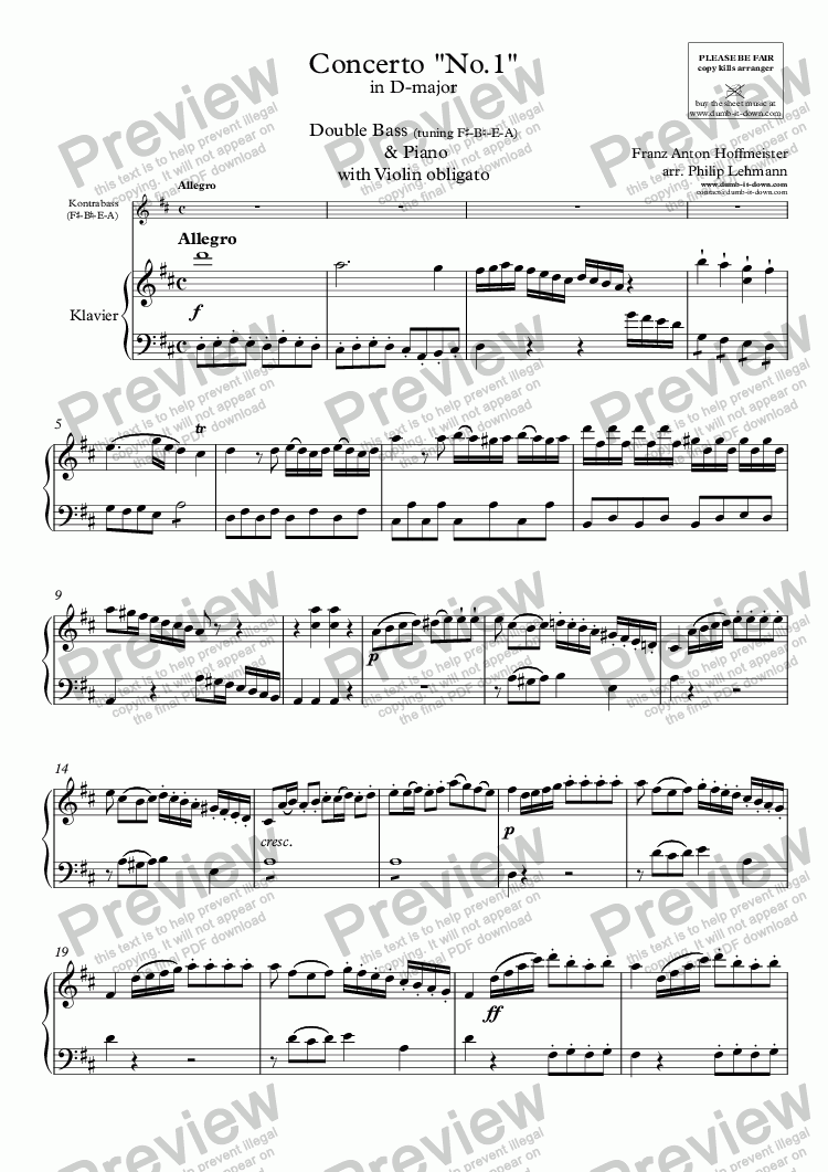 page one of Hoffmeister, F.A. - Concerto No. 1 in D-maj. - for Double Bass (tuning: F#-B-E-A), Violin obl. (orig.) & Piano (simplified)