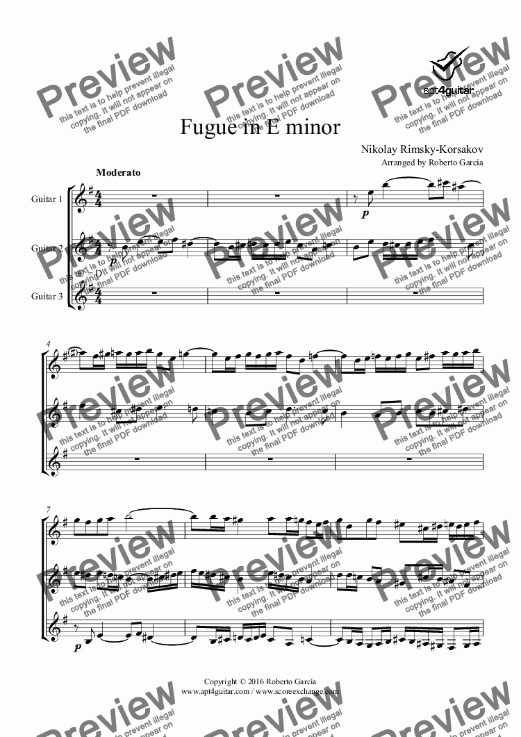 page one of Fugue in E minor for guitar trio