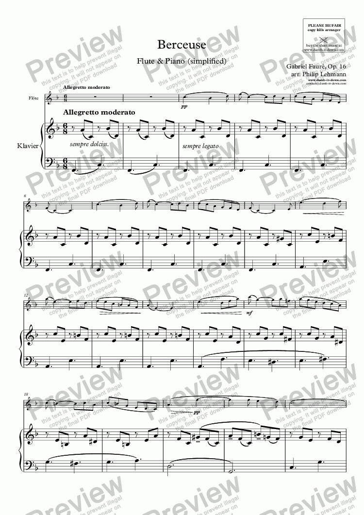 page one of Faurè, G. - Berceuse, Op. 16 - for Flute (orig.) & Piano (simplified)