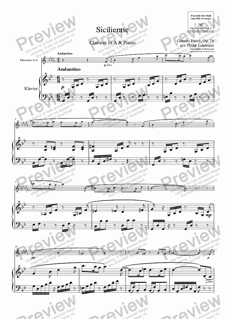 page one of Fauré, G. - Sicilienne, Op. 78 - for Clarinet in A (orig.) & Piano (simplified)