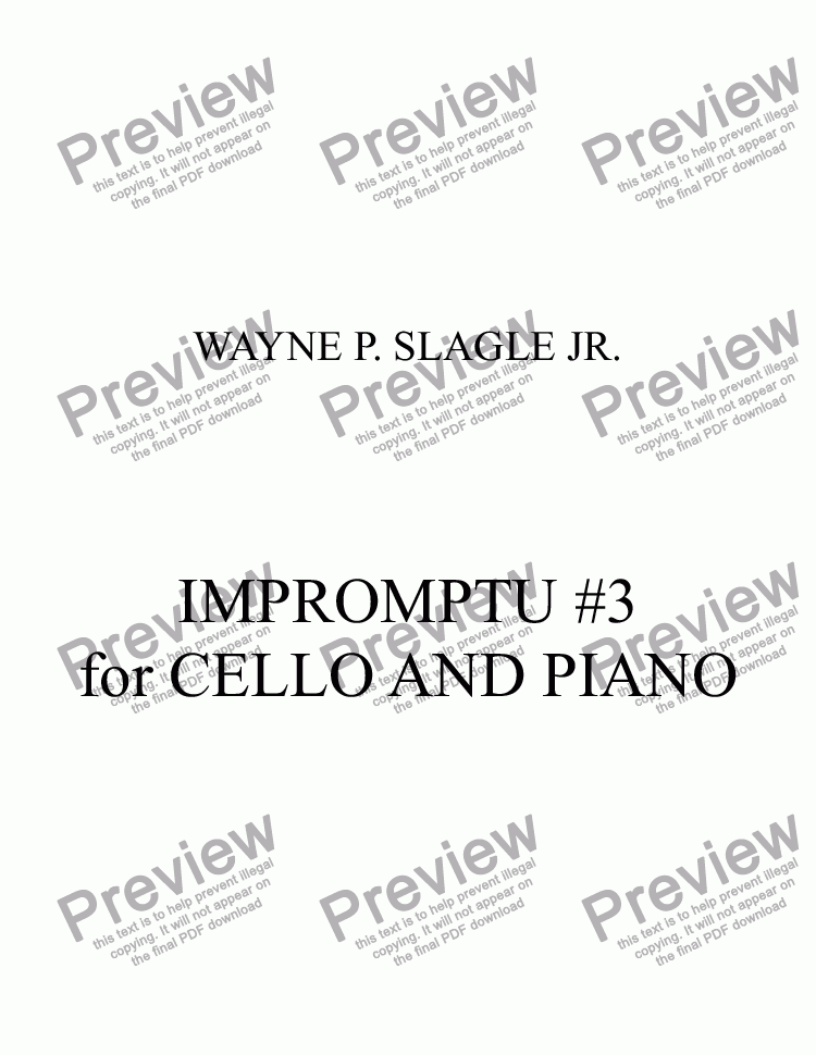 page one of IMPROMPTU #3  for CELLO AND PIANO