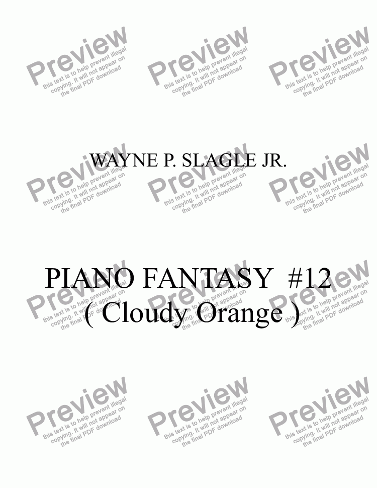 page one of PIANO FANTASY #12 ( Cloudy Orange )ASALTTEXT