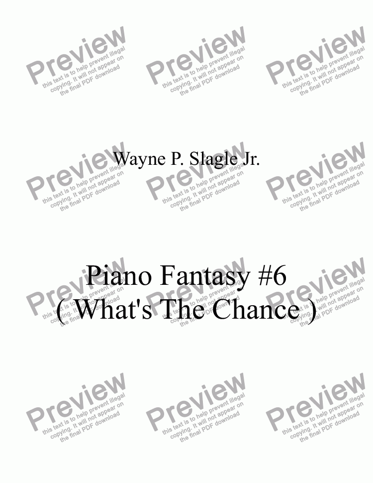 page one of Piano Fantasy #6 ( What's The Chance )